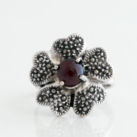 Inel argint floare marcasite granat