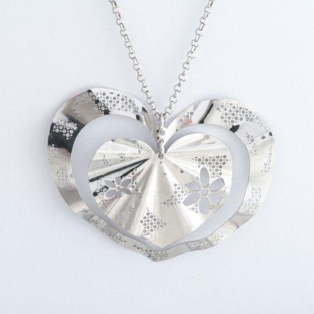 Colier argint inima dubla