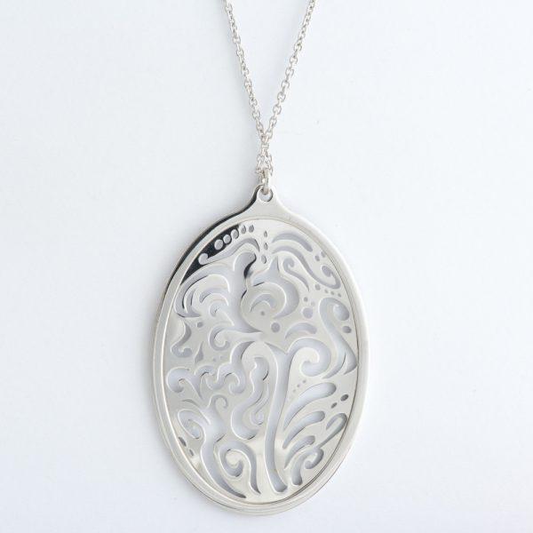 Colier argint oval oriental