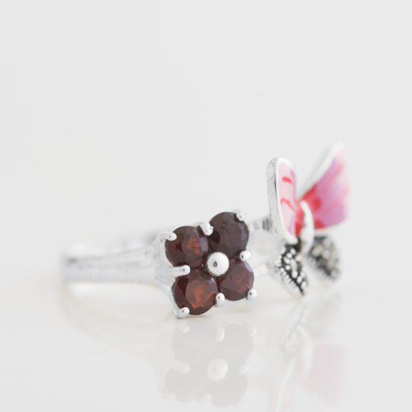 Inel argint floare granat fluture email