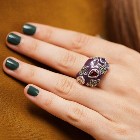 Inel argint abstract email mov marcasite zirconii cubice