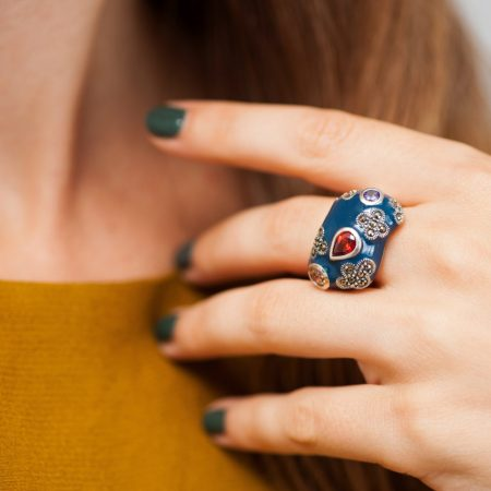 Inel argint abstract email albastru marcasite zirconii cubice