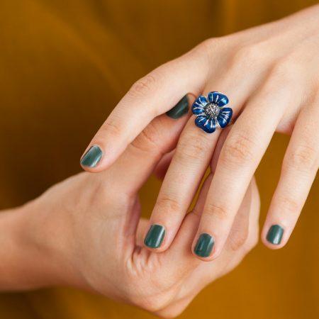 Inel argint margareta email albastru