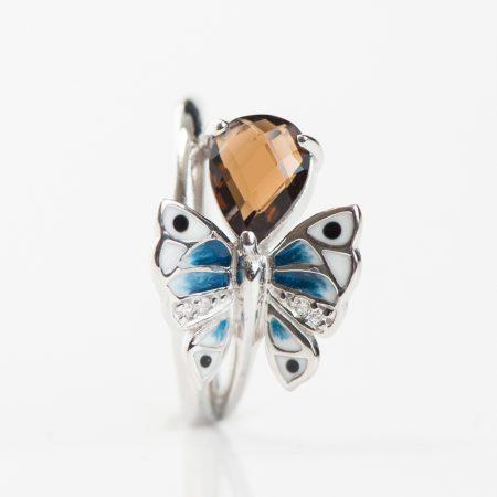 Inel argint cuart fumuriu fluture email