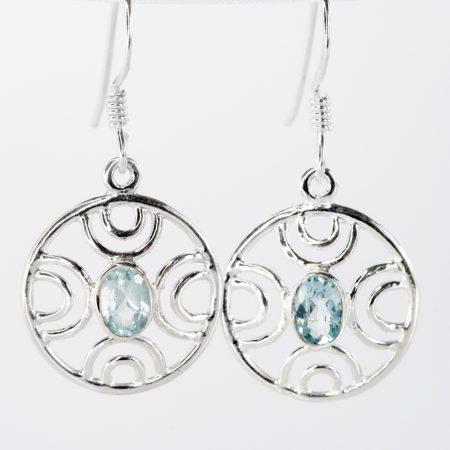 Cercei argint oval geometric topaz bleu