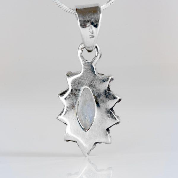Pandantiv argint elipsa granulatie piatra lunii