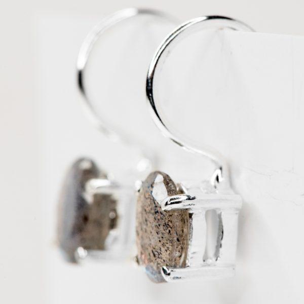 Cercei argint oval tortita labradorit