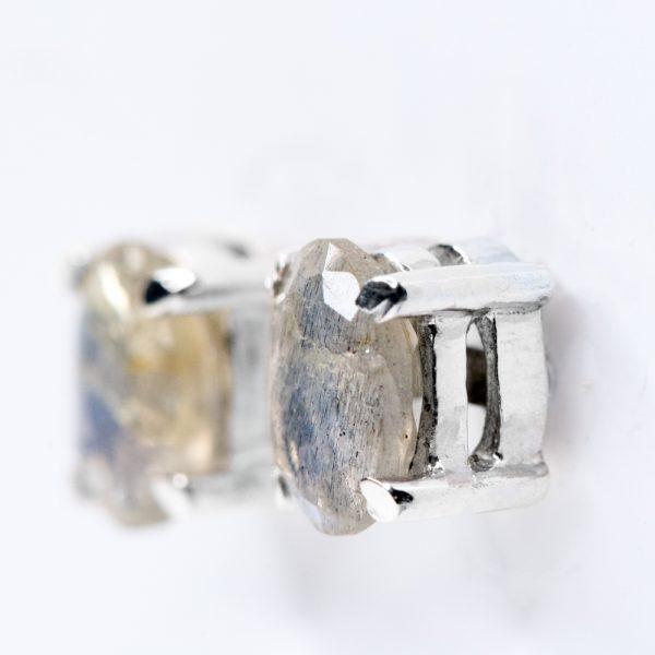 Cercei argint oval labradorit