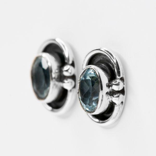 Cercei argint oval model topaz bleu