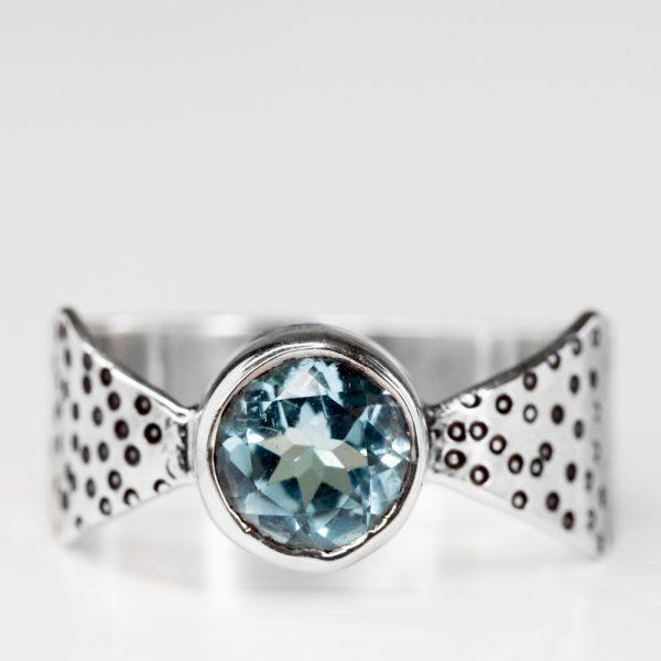 Inel argint funda topaz bleu