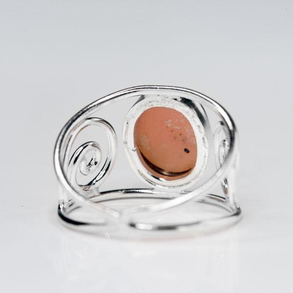 Inel argint spirala opal natural roz