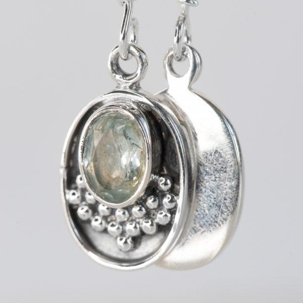 Cercei argint oval granulatie topaz bleu