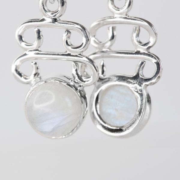 Cercei argint piatra lunii motiv in trepte