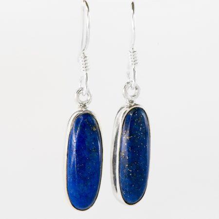 Cercei argint oval lapis lazuli